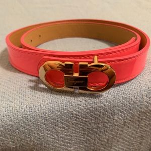 Designer thin hot pink belt